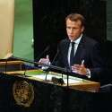 """""""אין חלופה אמינה לפתרון שתי המדינות"""", מקרון // צילום: AFP"""