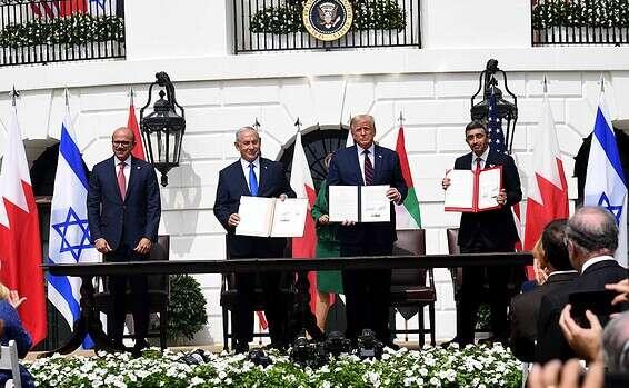 Signature des accords Avraham avec les Emirats Arabes Unis et Bahreïn // Photo: Avi Ohayon, GPO