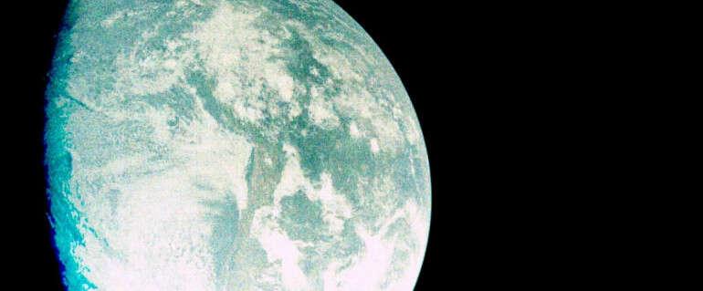 כדור הארץ ממרחק עשרות אלפי קילומטרים, כפי שצולם דרך החללית בראשית // צילום: SpaceIL