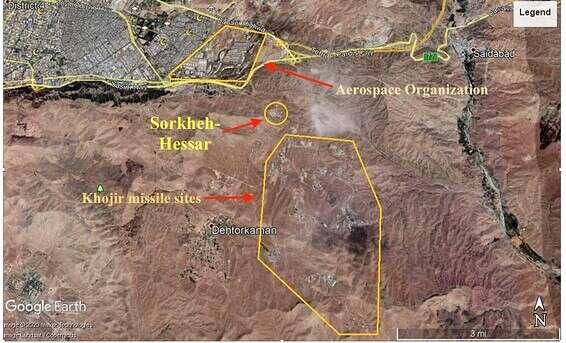Dans le cercle, le site de production nucléaire et des deux côtés des installations militaires supplémentaires