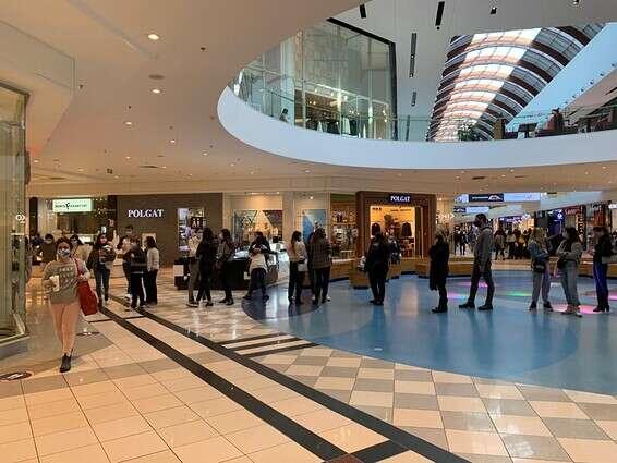 "Queue at Ayalon Mall. ""Glad to be back in malls after so long"" // Photo: Hayali Yaakovi-Handelsman"