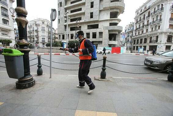 موظف معقم في شوارع الجزائر الفارغة الصورة: رويترز