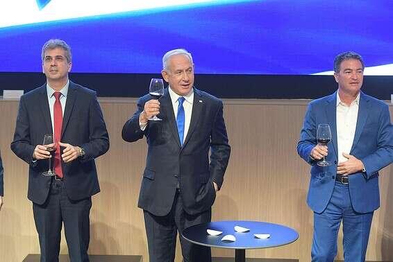 """ראש הממשלה בנימין נתניהו בטקס הרמת כוסית במוסד // צילום: עמוס בן גרשום/לע""""מ"""